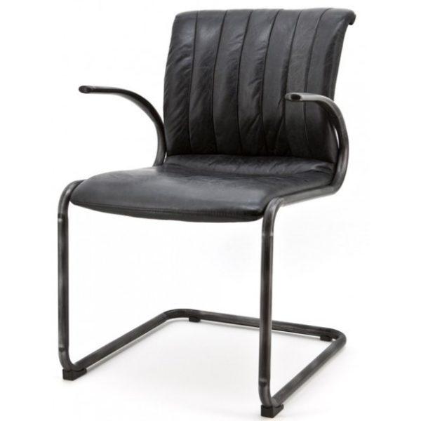 2 x Alex Spisebordsstole i ægte læder H86 cm - Sort/Sort