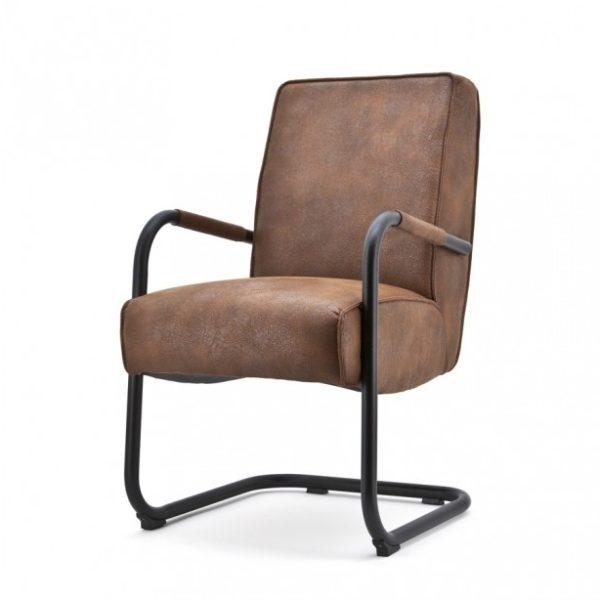 2 x Elburg spisebordsstole med armlæn H90 cm - Cognac
