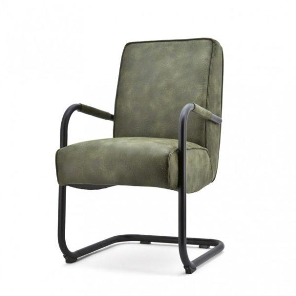 2 x Elburg spisebordsstole med armlæn H90 cm - Grøn