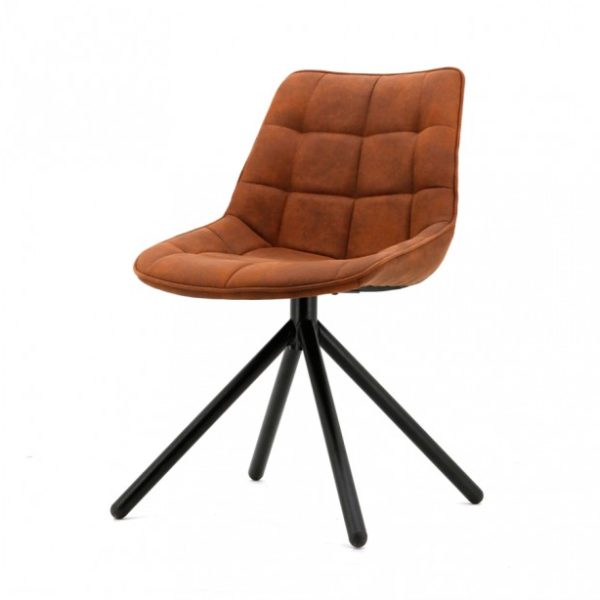 2 x Ella spisebordsstole i polyester H82 cm - Cognac