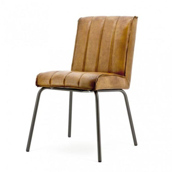2 x Marvin spisebordsstole i ægte læder H88 cm - Cognac