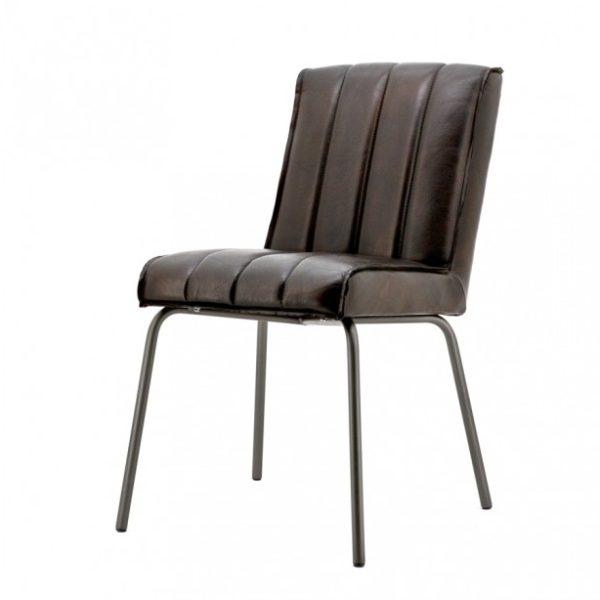 2 x Marvin spisebordsstole i ægte læder H88 cm - Rødbrun