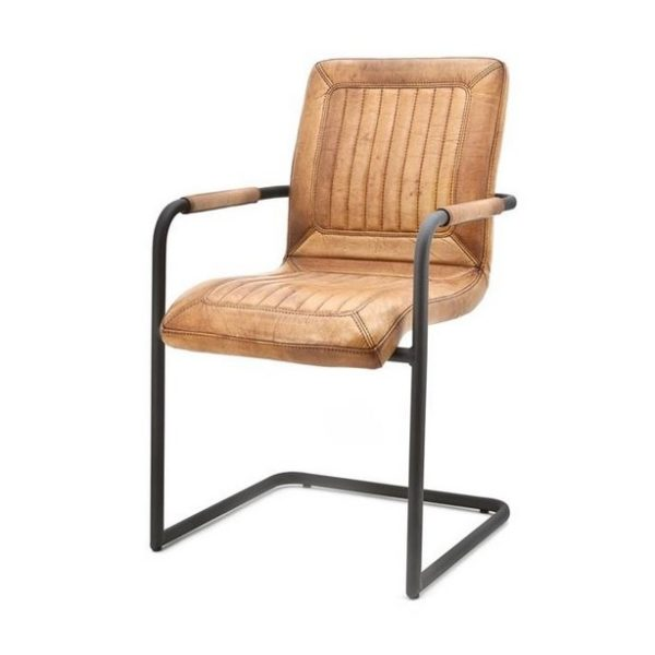 2 x Mika Spisebordsstole i ægte læder H89 cm - Cognac
