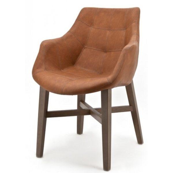 2 x Neba Spisebordsstole med armlæn H90 cm - Cognac