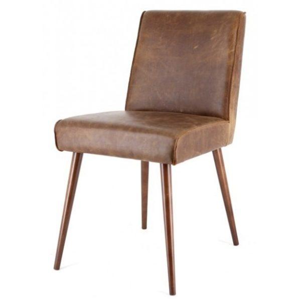 2 x Sascha Spisebordsstole i ægte læder H82 cm - Brun