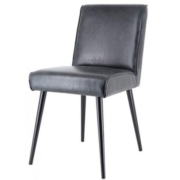 2 x Sascha Spisebordsstole i ægte læder H82 cm - Sort