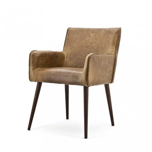 2 x Sascha spisebordsstole med armlæn i ægte læder H82 cm - Brun