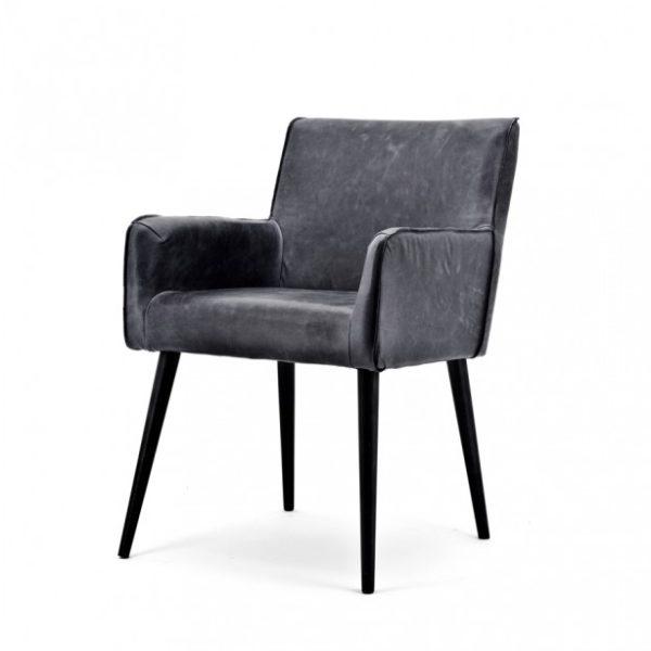 2 x Sascha spisebordsstole med armlæn i ægte læder H82 cm - Sort