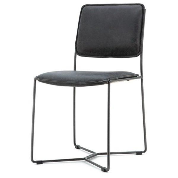 2 x Spisebordsstole i læder og metal H80 x B45 x D57 cm - Vintage antracit