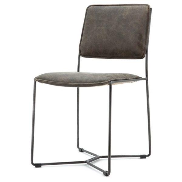 2 x Spisebordsstole i læder og metal H80 x B45 x D57 cm - Vintage brun