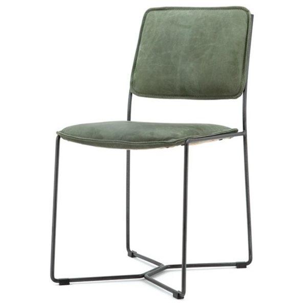 2 x Spisebordsstole i læder og metal H80 x B45 x D57 cm - Vintage grøn