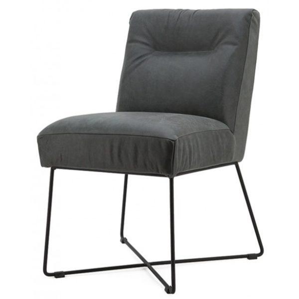 2 x Spisebordsstole i læder og metal H85 x B60 x D70 cm - Antracit