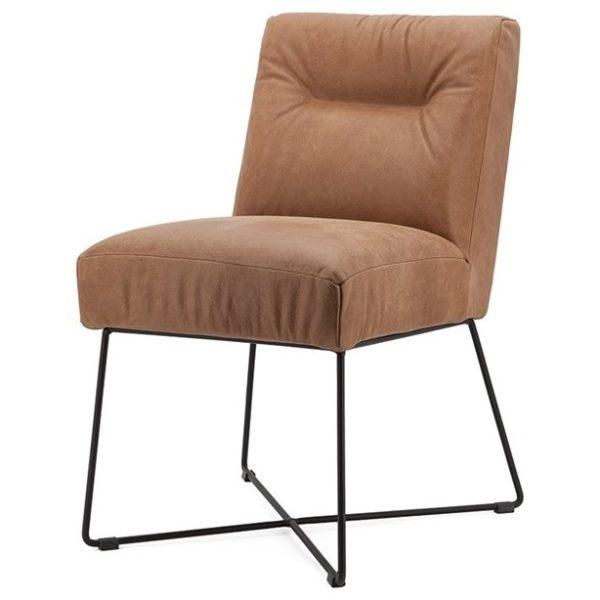 2 x Spisebordsstole i læder og metal H85 x B60 x D70 cm - Cognac