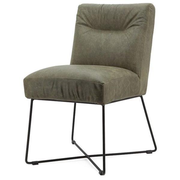 2 x Spisebordsstole i læder og metal H85 x B60 x D70 cm - Grøn
