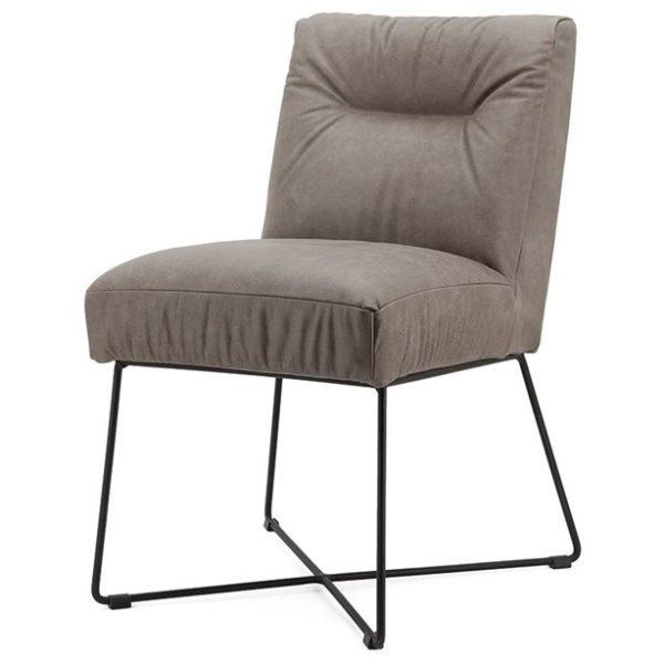 2 x Spisebordsstole i læder og metal H85 x B60 x D70 cm - Taupe
