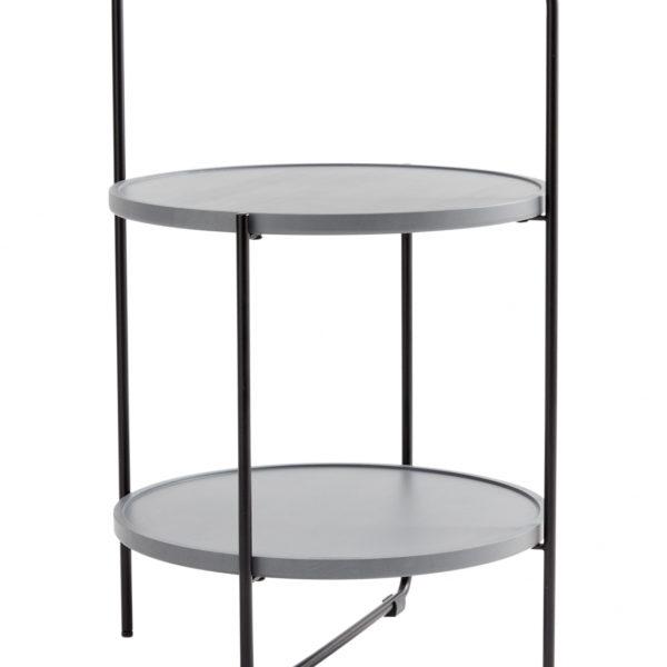ANDERSEN bakkebord - grå træ, rund, (68x46cm)