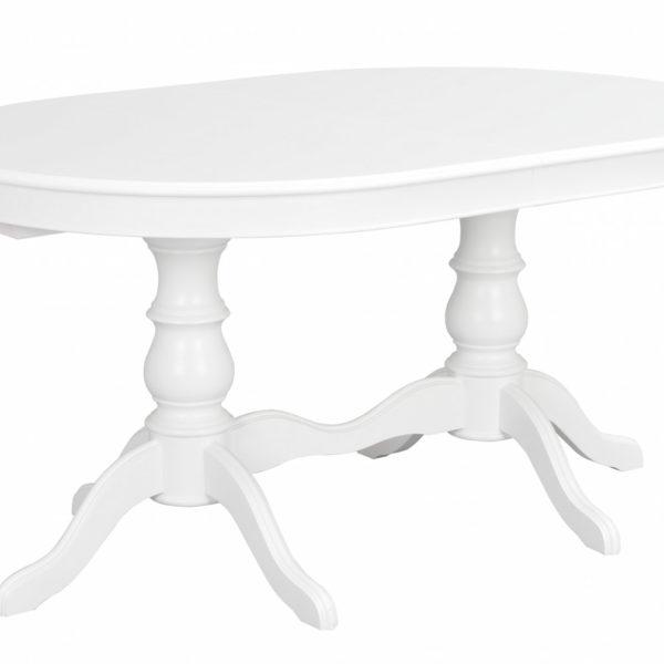 Amadeus spisebord - hvidt træ, oval m. 2 tillægsplader (110x160)