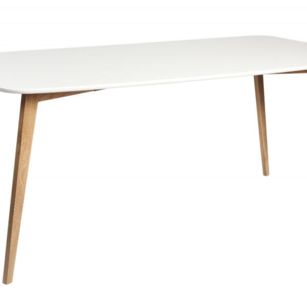 Arild spisebord - mat hvid/lakeret eg (180x90)