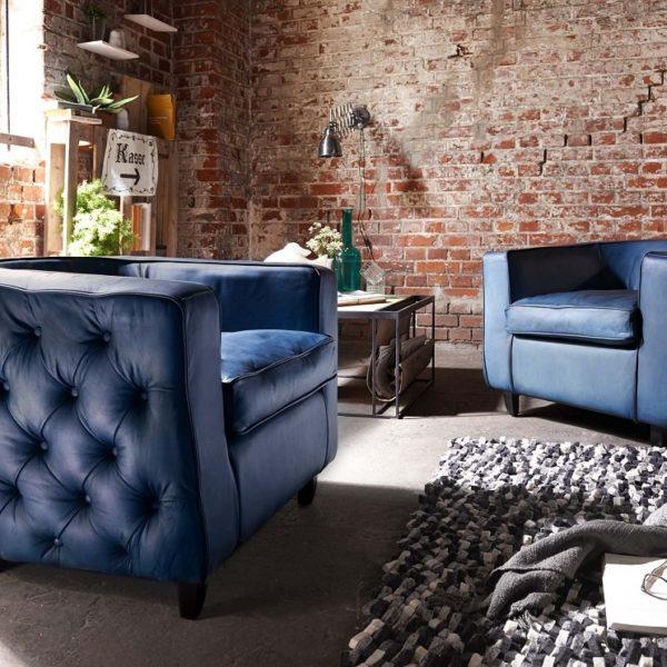 BODAHL Havanna loungestol - blå bøffellæder, m. armlæn