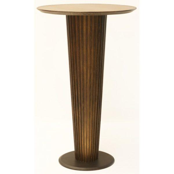 Bistro barbord i metal og egetræ H110 x 70 x 70 cm - Antik guldbrun