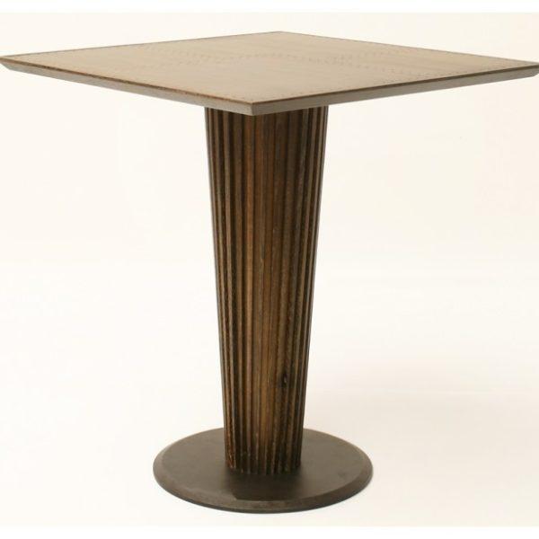 Bistro spisebord i metal og egetræ H75 x 70 x 70 cm - Antik guldbrun