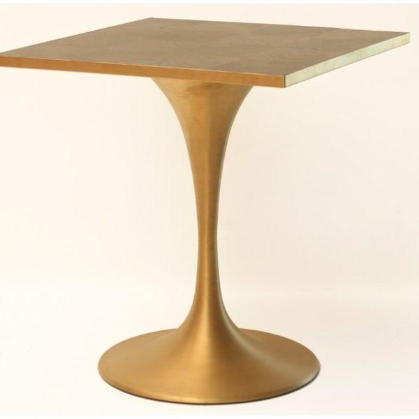 Bistro spisebord i metal og egetræ H76 x 70 x 70 cm - Guld/Messing