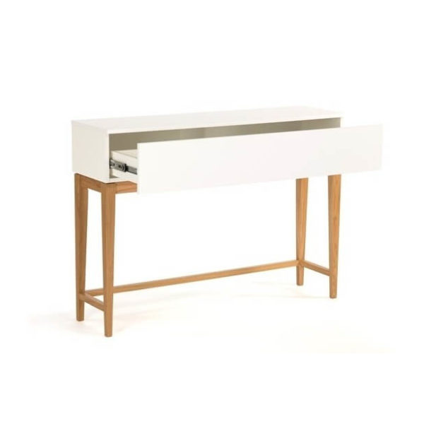 Blanco konsolbord med skuffe - Hvid/Eg