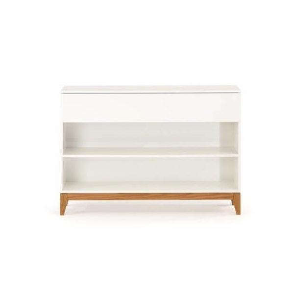 Blanco konsolbord med skuffe og hylder - Hvid/Eg
