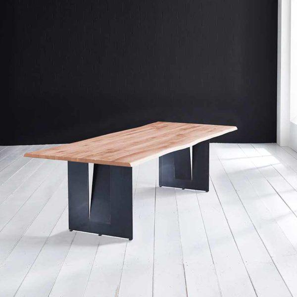 Concept 4 You Plankebord - Barkkant Eg med Steven ben, m. udtræk 3 cm 180 x 100 cm 03 = white wash