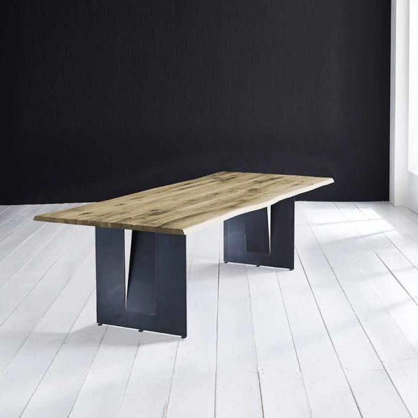 Concept 4 You Plankebord - Barkkant Eg med Steven ben, m. udtræk 3 cm 180 x 100 cm 05 = sand
