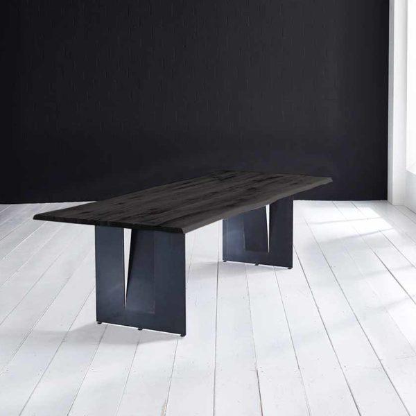 Concept 4 You Plankebord - Barkkant Eg med Steven ben, m. udtræk 3 cm 180 x 100 cm 07 = mocca black