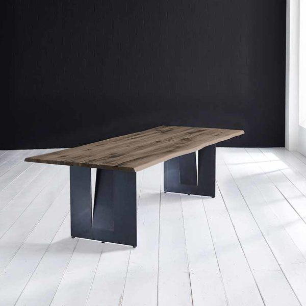 Concept 4 You Plankebord - Barkkant Eg med Steven ben, m. udtræk 3 cm 260 x 100 cm 02 = smoked
