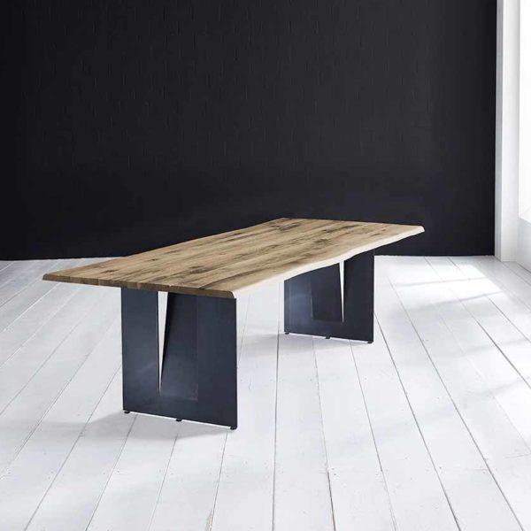 Concept 4 You Plankebord - Barkkant Eg med Steven ben, m. udtræk 3 cm 260 x 100 cm 04 = desert