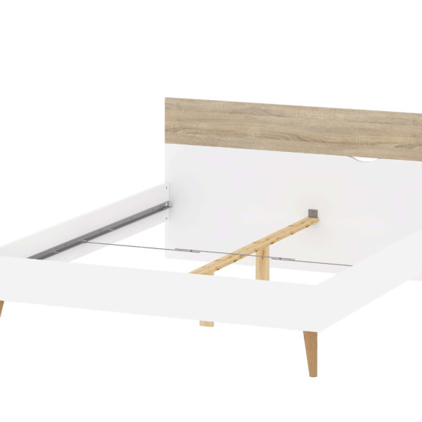 Delta sengeramme - hvid/egestruktur, 180 x 200