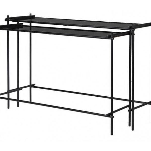 Dobbelt konsolbord i glas og metal B115 - 125 cm - Sort