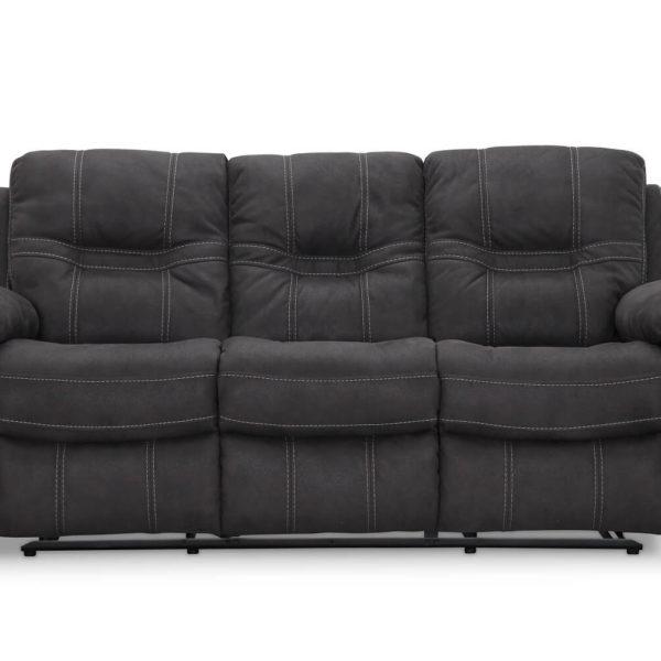 HAGA Detroit 3 pers. sofa - grå ruskindslook, m. recliner funktion
