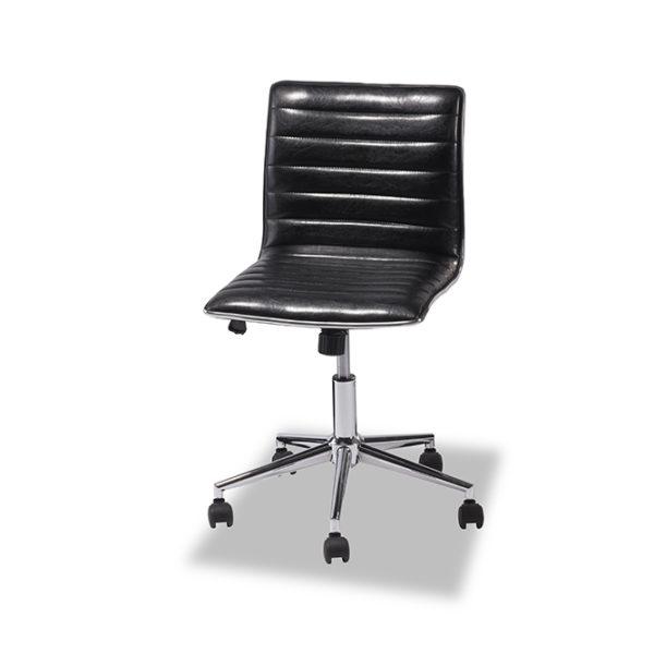 Jack kontorstol - sort læder PU m. hjul