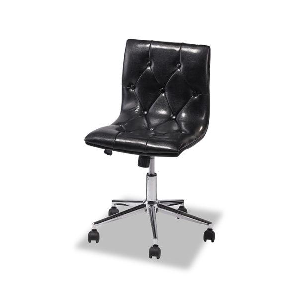 Kevin kontorstol - sort læder PU m. hjul