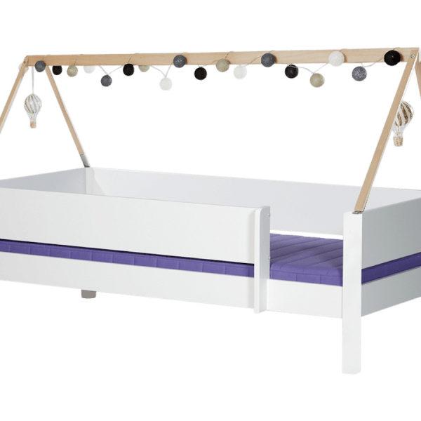 MANIS-H Brage børneseng - hvid m. sengekant og sengehest (200x90)