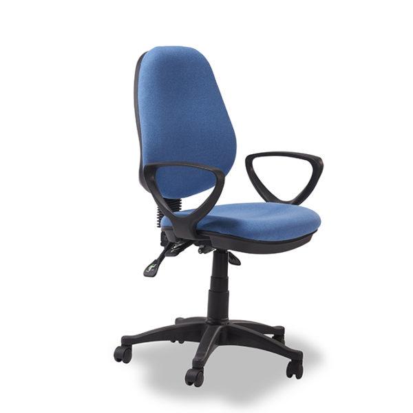 Metro kontorstol - blå stof m. hjul
