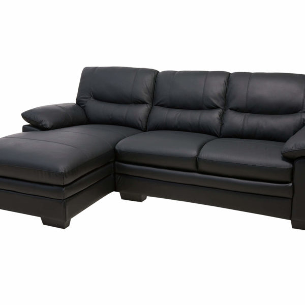 Moby sofa m. chaiselong - sort læder, venstrevendt