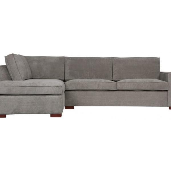 Moderne hjørnesofa med chaiselong 283 x 197 cm - Grå