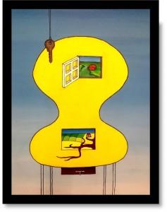 Surrealistisk maleri af en gul stol