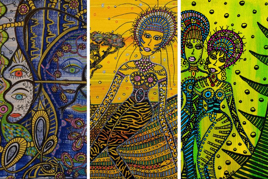 3 farverige akrylmalerier fra en dansk kunstner