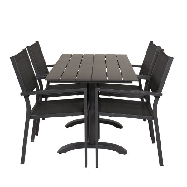 VENTURE DESIGN havesæt, m. Denver cafébord (120x70) og 4 Copacabana stole, m. armlæn - aintwood/alu