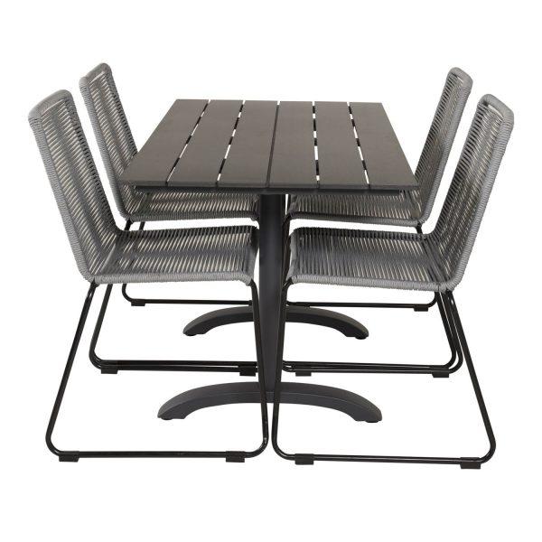 VENTURE DESIGN havesæt, m. Denver cafébord (120x70) og 4 Lindos stole - sort aintwood/alu/grå reb